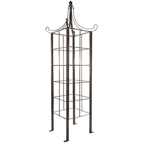H Potter Trellis Obelisk for Climbing Plant Large Garden Wrought Iron Ornamental for Patio Deck
