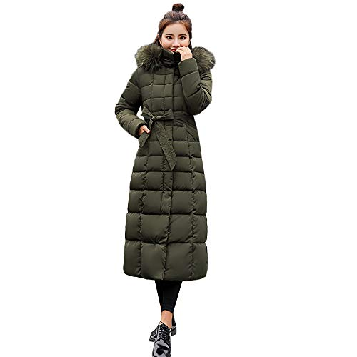Damen Wintermode Warm Wintermantel MYMYG Lang Mantel mit Fellkapuzen Steppmantel Übergangsjacke Winterjacke Daunenjacke Kapuzenmantel Winterparka(Grün,EU:38/CN-L)