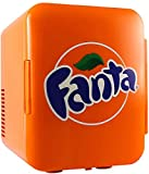 Coca Cola Fanta Portable 6 Can Thermoelectric Mini Fridge Cooler/Warmer, 4 L/4.2 Quarts Capacity, 12V DC/110V AC Plugs Included Great for Home, Car, Skincare, Cosmetics, Medication, ETL Listed