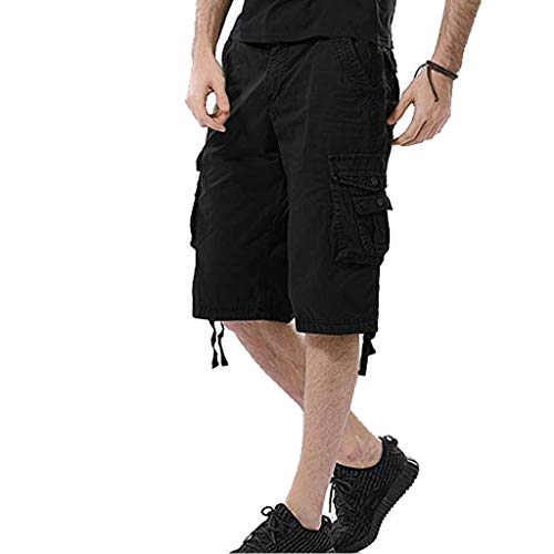 JYK-LQM Mens Cargo Shorts Relaxed Fit Multi-Pocket Outdoor Wear Lightweight-Black-28