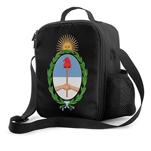 Lawenp Bolsa de almuerzo con aislamiento de Escudos de Armas de Argentina, bolsa de almuerzo plana a prueba de fugas con correa para el hombro para hombres y mujeres, adecuada para el trabajo y la of