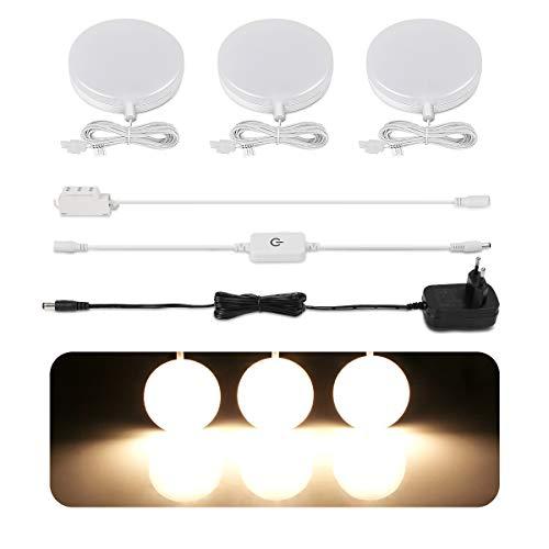 LE Schrankbeleuchtung, LED Unterbauleuchte Küche Set, Vitrinenbeleuchtung Inklusiv alle Zubehör, Schrankleuchte 120 Abstrahlwinkel, Küchenlampen LED Lichtleiste, 3000K Warmweiß, 3er Pack