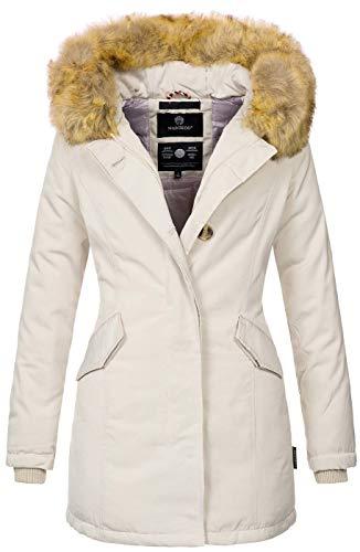 Marikoo Damen Winter Jacke Parka Mantel Winterjacke warm gefüttert B362 [B362-Karmaa-Beige-Gr.S]
