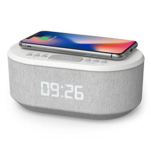 Bedside Wireless Charging Radio Alarm Clock with Dimmable LED Display - Non Ticking Mains Powered Dual Alarm Clock with USB Charger and Bluetooth Speaker
