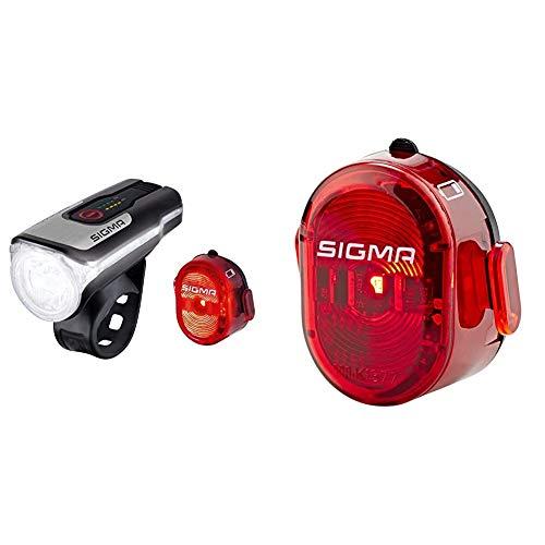SIGMA SPORT - LED Fahrradlicht Set Aura 80 und Nugget II | StVZO zugelassenes, akkubetriebenes Vorderlicht und Rücklicht & Nugget II Fahrradbeleuchtung, Rot, One Size