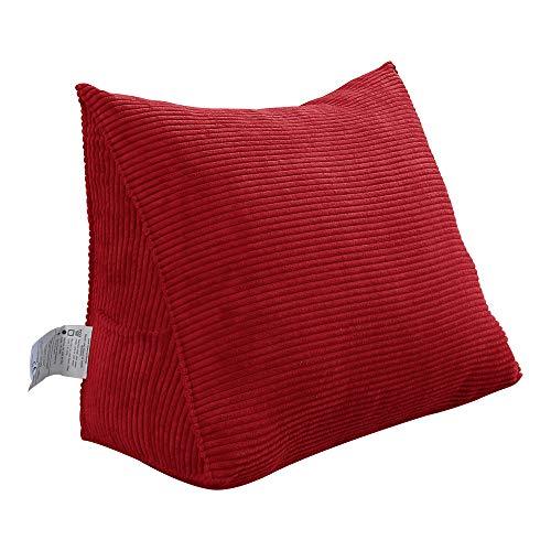 VERCART Rückenkissen Dreieckig Kopfkissen Keilkissen Palettenkissen Weich und Bequem aus Softer Waschbar Rot 45cm