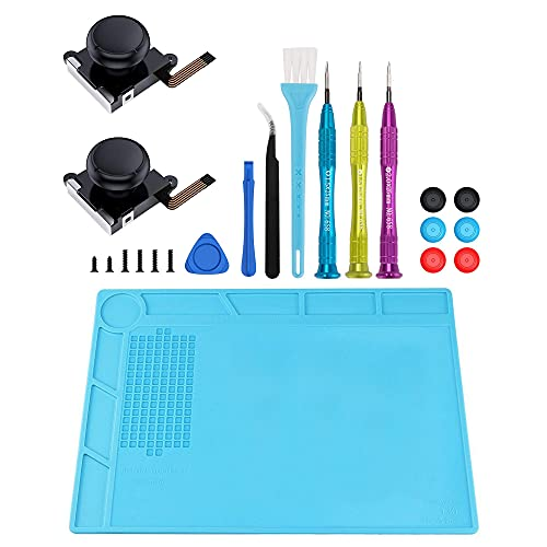 XOOL Joycon Joystick Replacement (2 Pack) Controller Repair Kit & Heat Insulation Silicone Repair Mat for Nintendo Switch Joy Con, Include Tri-Wing, Cross Screwdriver, 6 Thumbstick Caps, etc.