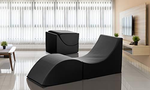 Talamo Pouf Clever, Tasformabile in Chaise Longue, Ecopelle, Nero, 50 X 70 X 50 cm, Singolo