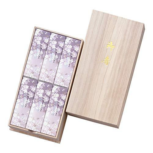 日本香堂 宇野千代のお線香 淡墨の桜 桐箱サック6箱入 包装品 1セット