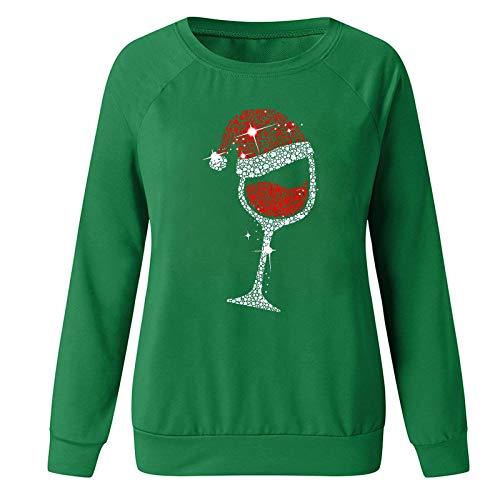 H&E Women Christmas Print Raglan Sleeve Tops Print Crewneck Blouse T Shirts Green US L