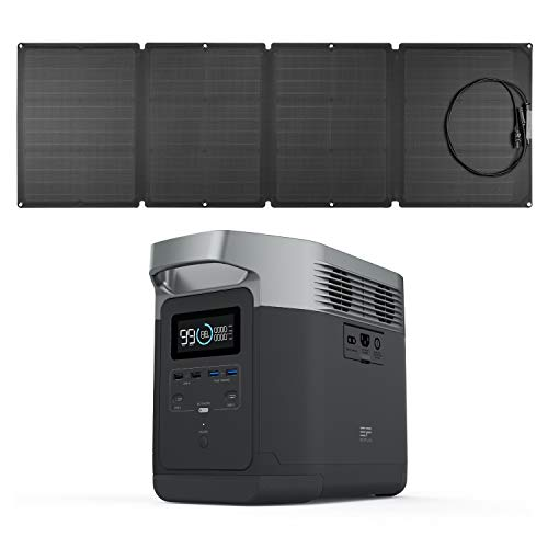 EF ECOFLOW Portable Power Station EFDELTA 1260Wh with 110W Solar Panel , 6 1800W (3300W Surge) AC Outlets, Solar Generator for Outdoors Camping RV Hunting Emergency