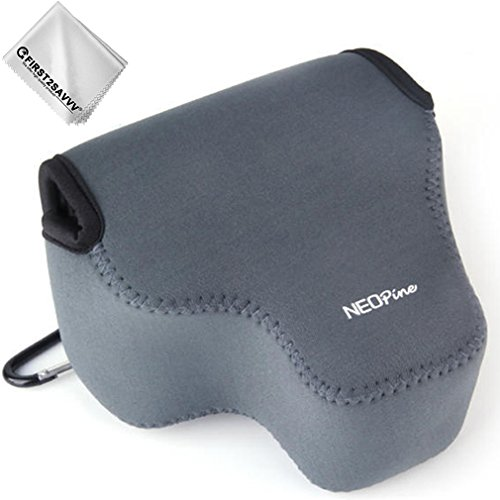 First2savvv grau Flexible Neopren DSLR/SLR Kameratasche für Nikon COOLPIX P610 P600 P530 P520 P510 P500 + Reinigungstuch - QSL-P520-11G11