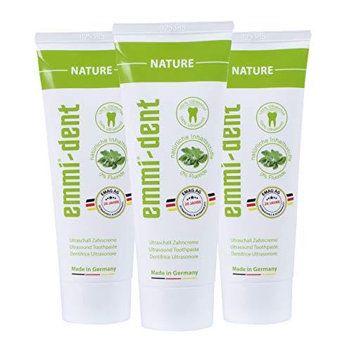 emmi®-dent Zahnpasta für Ultraschallzahnbürsten – Nature – Zahncreme für Sogwirkung, 75 ml (3 Stück)