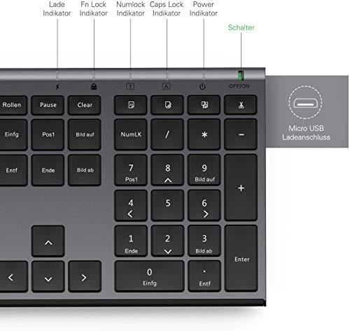 Jelly Comb Kabellose Tastatur und Maus, 2,4G Ultradünne Funktastatur und Maus mit Ziffernblock, Full-Size Wiederaufladbare QWERTZ Tastatur für Computer, Laptop, Notebook, Windows(Schwarz und Grau)