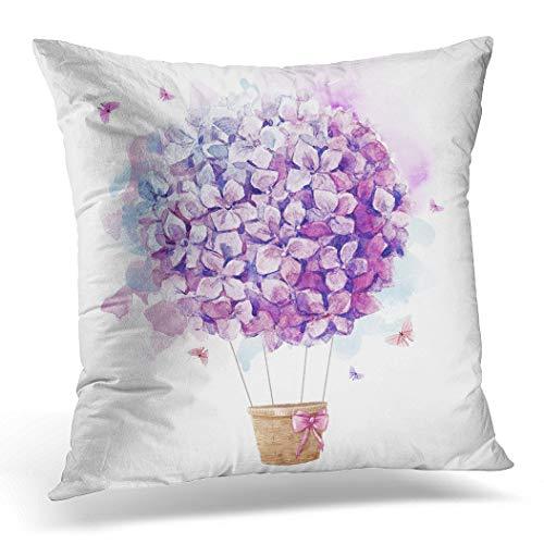 Awowee Funda de cojín de 45 x 45 cm, impresión de acuarela con globo de color púrpura, flores de hortensias y bolas de lila, decoración del hogar, funda de cojín para sofá y cama