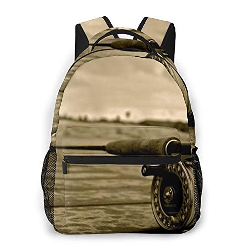 """USOPHIA Casual Rucksack,Angelruten Vintage Gelb,Business Daypack Schultasche für Männer Frauen Teen Women 16\""""X11.5\"""""""