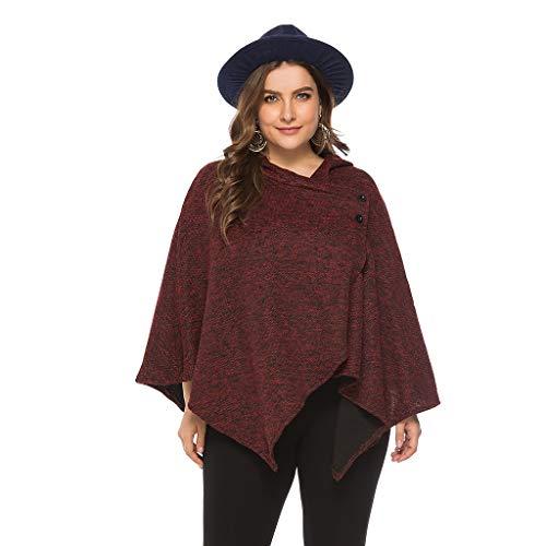 Amphia - Damen Umhang Mantel,Beiläufige Normallack-Rand-Rand-unregelmäßige Mantel-Bluse der Frauen