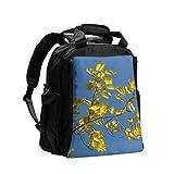 Wickeltasche Rucksack mit Wickelauflage Herbst Bunte Blätter Gelb Goldene Pappel Moderner Rucksack Wickeltasche Multifunktions-Reiserucksack Mit Wickelunterlage Für Babypflege