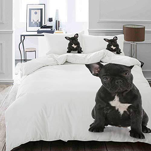 HUAYEXI Set Copripiumino,Bulldog Francese del Cucciolo Che Si siede esaminando visore con la riflessione sul Cane Bianco,Copripiumino 140x200cm 2 Federe (50x80cm)