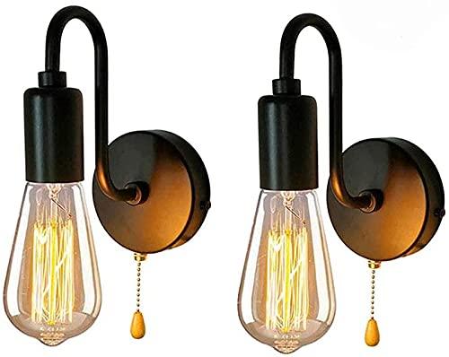 JeeKoudy Lámpara de Pared Vintage Negra E27 con Interruptor de Cable de tracción, Aplique de Pared de Hierro y Metal, Aplique de luz Industrial Retro, Luces de Lavado de Pared para Restaurante