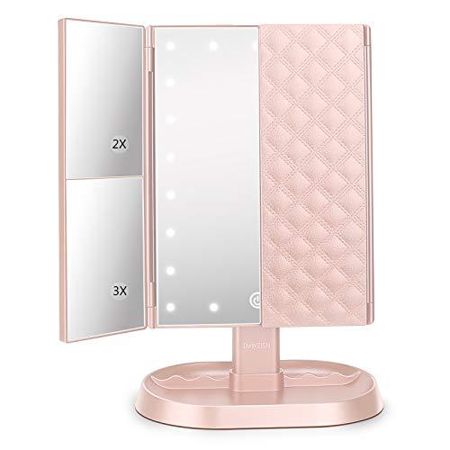 Espejo Maquillaje con Luz, Espejo de Tocador Iluminado con 1x/2x/3x Aumento, 21 LED Portátil Espejo Triple Pantalla Táctil Rotación de 180° Espejo Cosmético para Viaje, Regalo para Mujeres (Rosa)