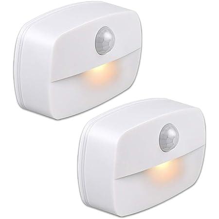 YzzYzz Veilleuse LED Automatique [Lot de 2], Lampe de Nuit Murale avec Détecteur de Mouvement autocollante, Veilleuse Murale pour Salle de Bains, Chambre, Couloir (Lumière blanche chaude)