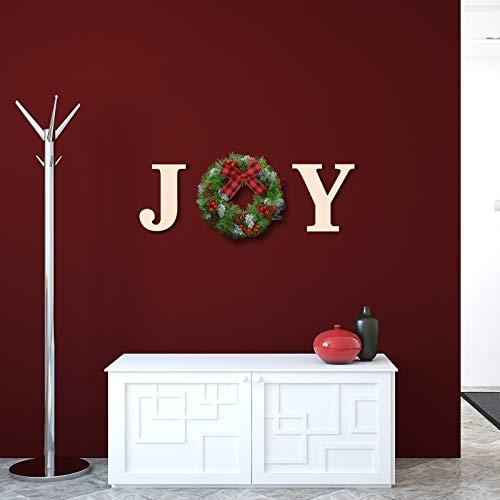 Syhood Weihnachten Dekorationen Joy Kränze Freude Zeichen Künstliche Fichte Weihnachtskranz (Kräftiges Holz JY)