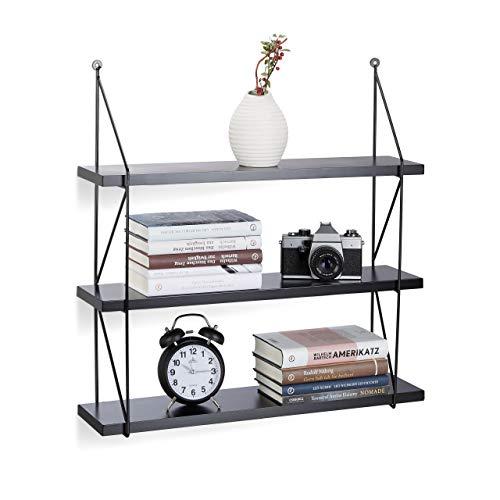 Relaxdays Hängeregal für die Wand, 3 Ebenen Wandregal für Innen, belastbare Wandablage, HBT: 62 x 60 x 16 cm, schwarz