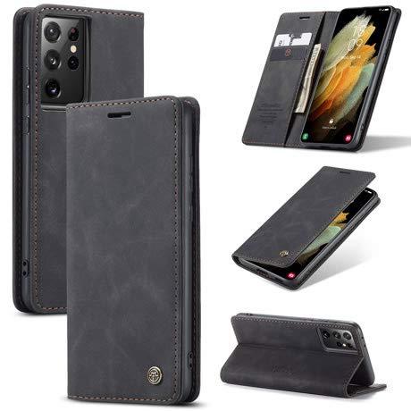 CaseMe - Funda de piel sintética tipo cartera para Samsung Galaxy S21 Ultra con función atril y cierre magnético, color negro