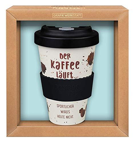 Grafik Werkstatt Premium Becher mit Deckel |Kaffeebecher to go | 400 ml | Der Kaffee läuft