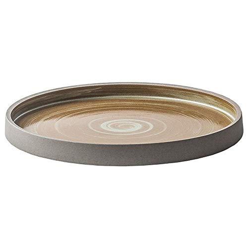 XUSHEN-HU cerámica Bandeja Pasta Piedra nórdica Filete Cacerola de cerámica Creativa Placa Occidental Pizza de Plato Cubiertos Pan 23,5 cm Amarillo Clásico