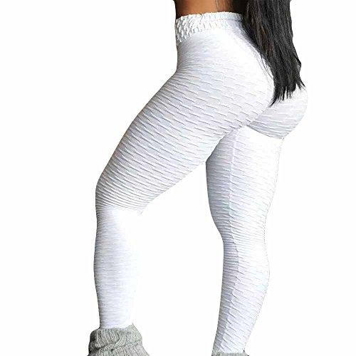 TianWlio Leggings Damen Frauen Running Stretch Hosen Hosen Hohe Taille Yoga Fitness Leggings Yoga Leggings Sport Leggings Yoga (Weiß 1, M)