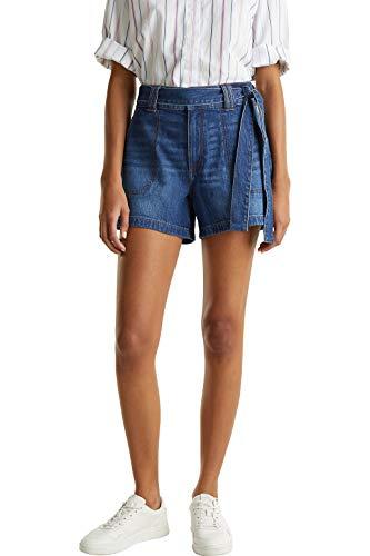 edc by ESPRIT Damen 030CC1C301 Shorts, 901/BLUE Dark WASH, 34