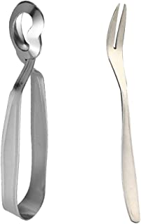 YARNOW Cutlery Spoons 2pcs Snail Tong and Fork Stainless Steel Durable Utensils Escargot Fork Snail Tong Tableware Set for...
