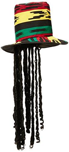 Widmann Sancto Chapeau Haut-de-Forme Rasta avec Longs Cheveux Noirs DE