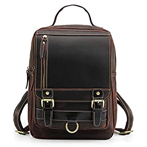 Lannsyne リュックサック 本革 メンズ ボディバッグ 2way 大容量 A4対応 9.7インチiPad バックパック 経年変化 ビジネスリュック 自転車 通勤 通学 鞄 ダークブラウン