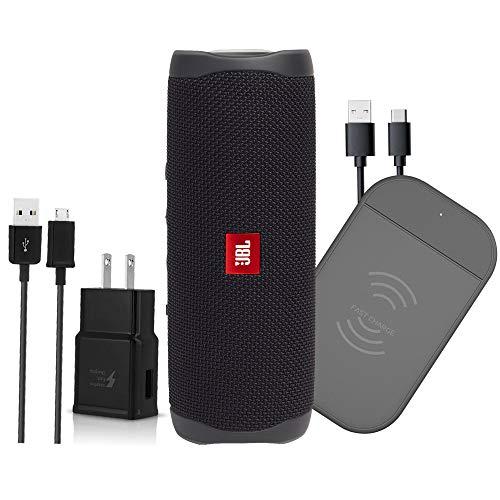 JBL Flip 5 Wireless Bluetooth Speaker iPX7 Waterproof - W/ 3.0 Fast 10W Qi Dashboard Power Mat (Renewed)