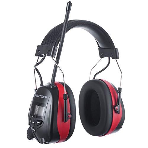 PROTEAR Protección auditiva Recargable con Bluetooth FM Am Radio y micrófono Integrado, reducción de Ruido, para la Industria, la construcción y el segado - SNR 30 dB(Rojo)