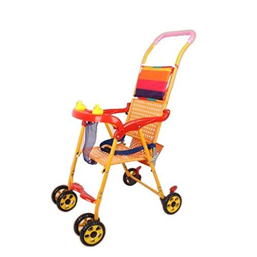 Cochecitos de bebé de ratán de verano Cochecito ligero for niños Cochecito de bebé Carrito de bebé Coche plegable de 4 ruedas Coche, simple y transpirable (Color : A)