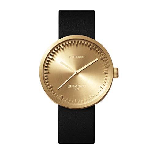 LEFF Amsterdam klok met Miyota uurwerk unisex tube watch D42 goudkleurig/zwart 42 mm