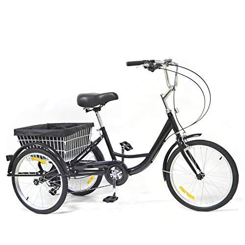 Bicicletta da adulto, 20 pollici, triciclo da città, 8 velocità, 3 ruote, con cestino, telaio in lega di alluminio (nero)