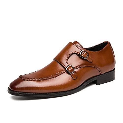 Mocasines para hombre, con doble correa de monje y tacón de bloque bajo, piel vegana, suela ártica, zapatos de moda (color: marrón, talla: 43 EU)