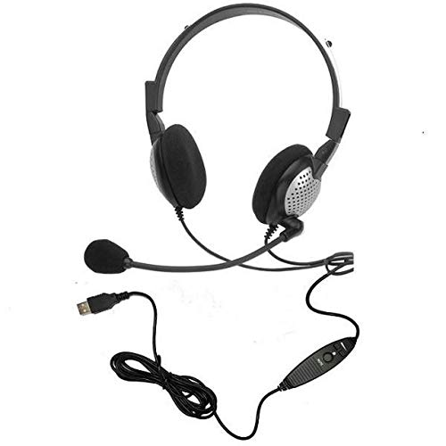 Voice Recognition USB Headset with Noise Cancelling Boom Microphone for Dragon NaturallySpeaking 15, Dragon 15 Home, Premium, Professional (Two Sided Headset)