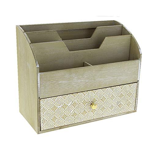FineHome Organizer Briefablage Briefhalter Schreibtischorganizer Tischorganizer Postablage Holz Natur B23xT11xH19cm