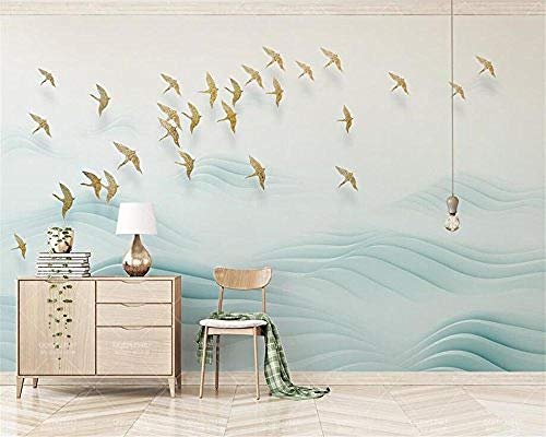 XHXI Small Fresh Golden Bird Hill Fashion Wave Home Decor for Living Room Sofa Tv Background Bedroom Wall Decoration 3D Wallpaper Paste Living Room The Wall for Bedroom Mural border-430cm×300cm