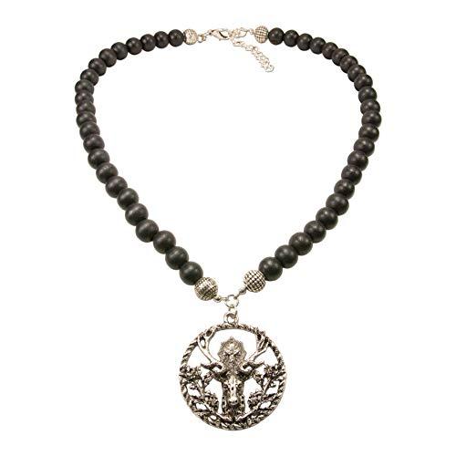 Alpenflüstern HHK009 - Collana da uomo con perle di legno, colore argento antico