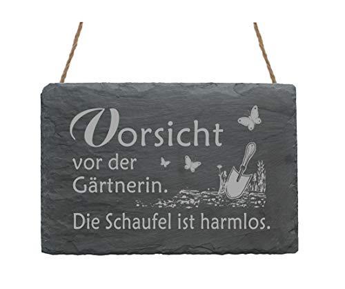 Wetterfeste Schiefertafel « VORSICHT VOR DER GÄRTNERIN » Schild mit Motiv Garten Schmetterlinge - Türschild Dekoschild Dekoration - Gärtnerei Gartenarbeit