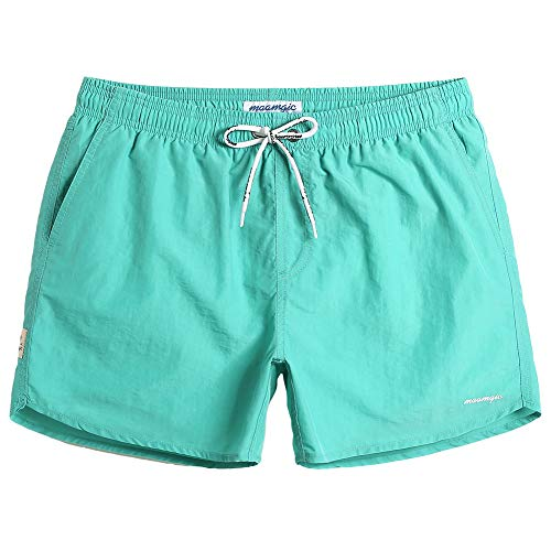 MaaMgic Mens Slim Fit Shorts Quick Dry Swim Trunks with Mesh Lining Male Bathing Suits,Medium(Waist:32'-34'),Green