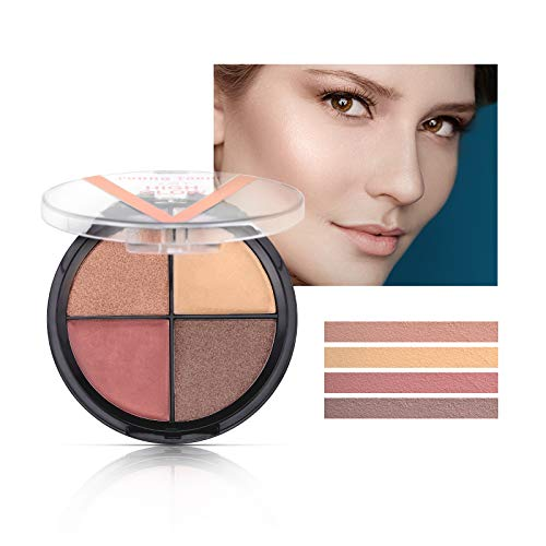 Mimore Highlighter-Palette, 4-Farben-Highlight-Lidschatten-Konturpalette, Shimmer High Glow-Make-up,...