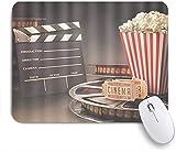 XWJZXS Alfombrilla de ratón, Boleto de película Retro Clapboard Film-Roll Palomitas de maíz Filmstrip StudioOficina,...